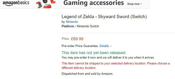 Skyward Sword on Amazon