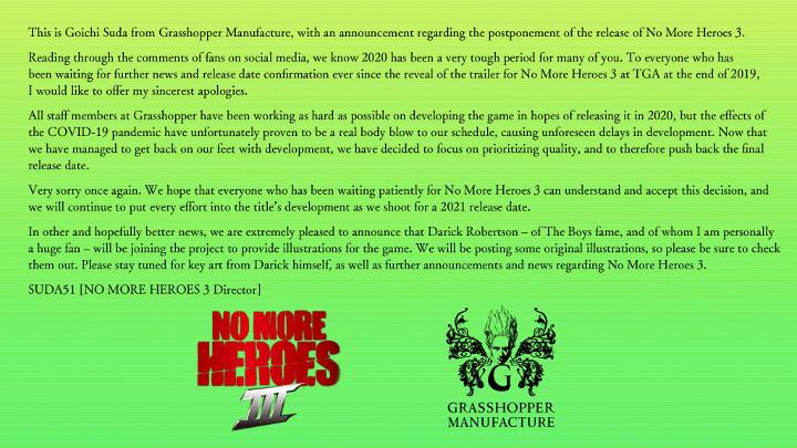 No More Heroes 3 Delay