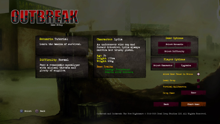 Outbreak: The New Nightmare - Main Menu