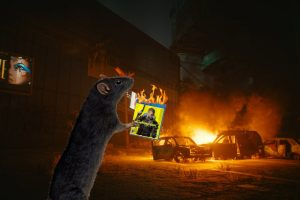 A rat burning Cyberpunk 2077