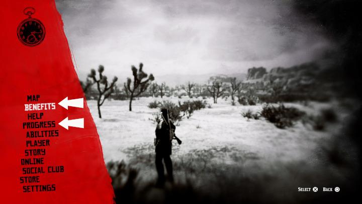 Red Dead Online - Menu