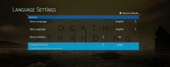 Death Standing - Font Size